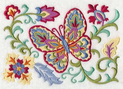 Embroidered Suzani butterflies quilt block,sewing, fabric,cushion panel,flowers