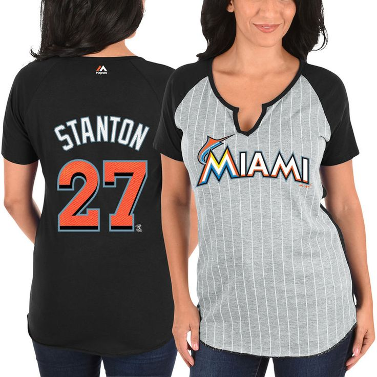 Giancarlo Stanton Miami Marlins Majestic Women's From the Stretch Pinstripe Name & Number T-Shirt - Gray/Black