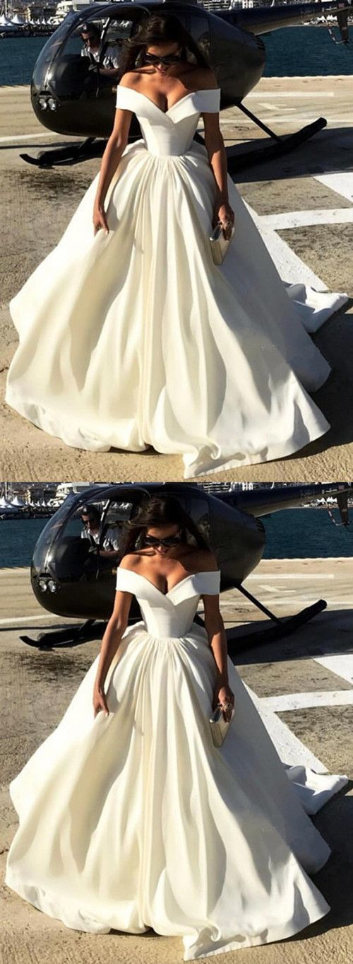 Deep V-neck Ball Gowns Satin Wedding Dresses Off The Shoulder by prom dresses, $…