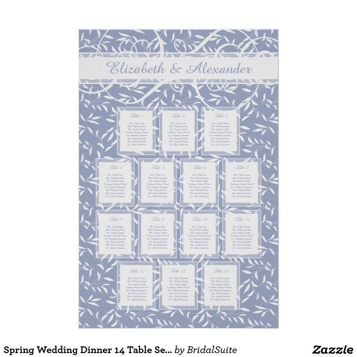Spring Wedding Dinner 14 Table Seating Chart Poster