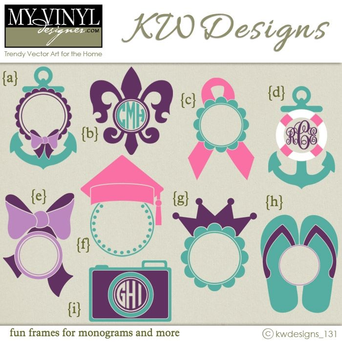 Digital download monogram frame vectors in ai eps gsd