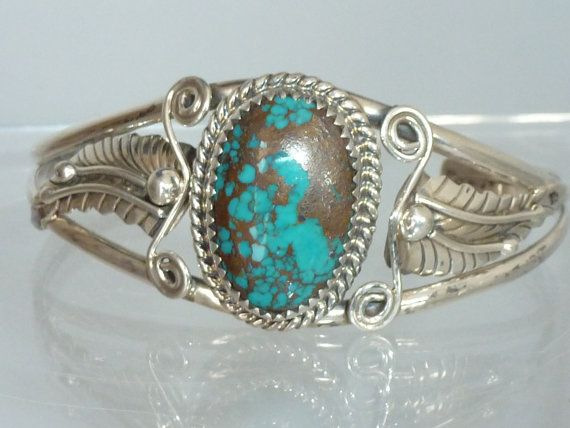 Sterling Silver Bangle Navajo oval Turquoise by UKVintageCurios