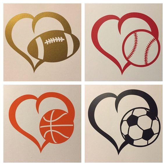 Heart Sports Decal  Football Baseball Soccer by KelseysWineCharms