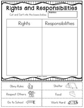 Use this free cut and paste sorting activity to complement your lesson on rights…