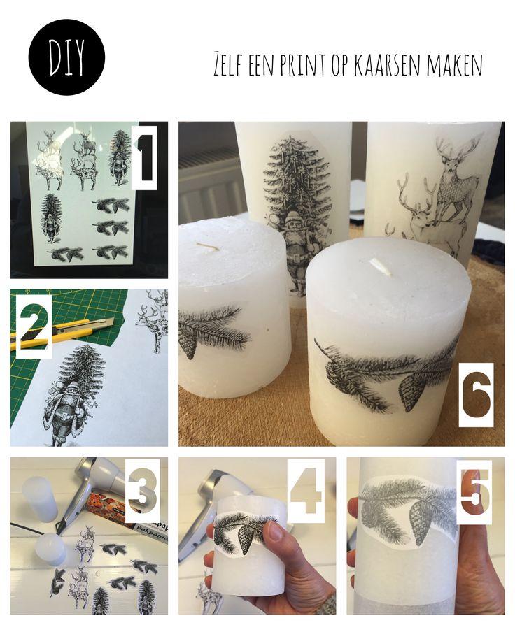 Zelf een print op kaarsen maken.  Zoek op internet plaatjes en print deze. Snij…