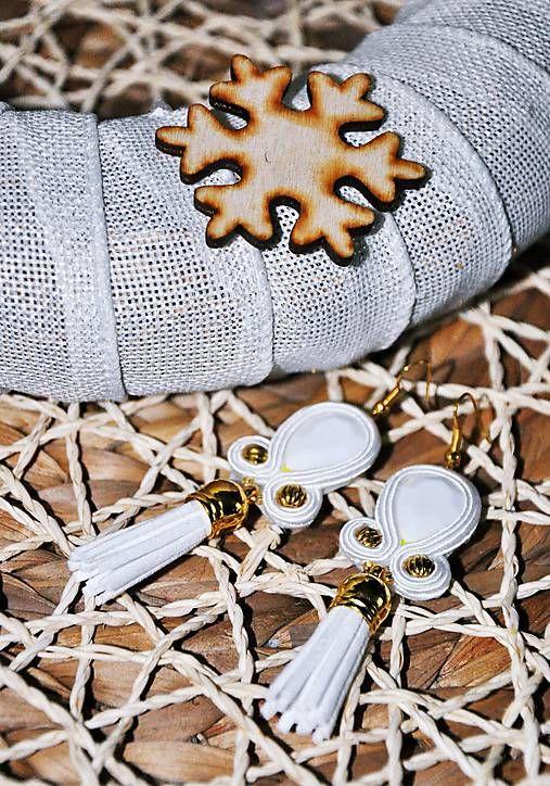 Cukorpalantak / Zlato-biele náušnice so strapcom