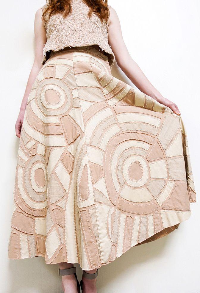 Alabama chanin handcrafted organic cotton womens skirt 1