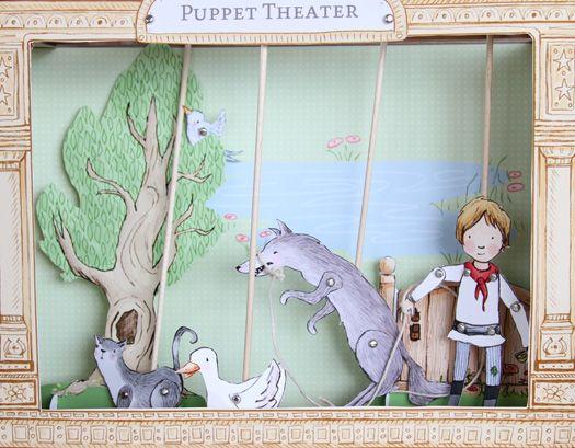 Pierre et le loup, théâtre de marionnettes à fabriquer!    Sur le blog de Sarah Jane, via La cabane à idées