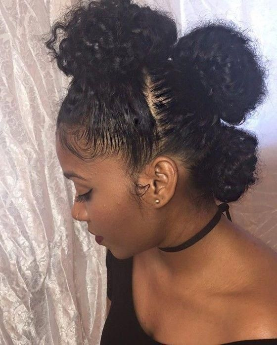 Three Bun Mohawk Protective Style #Wrap #Synthetic #Hair #hairstyles #blackgirls