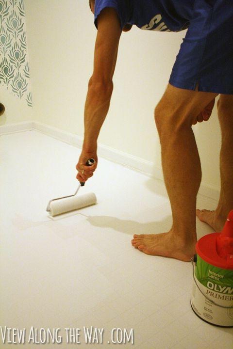 Painting Vinyl Floors, how to paint vinyl floors, can you paint vinyl floors, can you paint vinyl sheet flooring