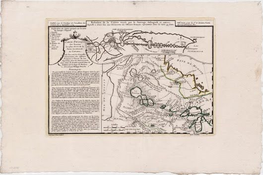 Native American cartography on a map of the American West, 1754  Two extraordinary maps on one sheet, the one a very early example of native American ca... - Boston Rare Maps Inc - Google+