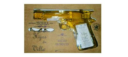 Hijos de Villa Tequila Reposado is a bottle of tequila designed like a handgun and produced with blue agave. Throw this original packaging, the brand searched to reinvent the term « shooter » because the bottle contains 200ml of tequila. This design evokes several periods of history and shows the bravery of the traditional Mexican beverages inspired by the handgun Pancho Villa.