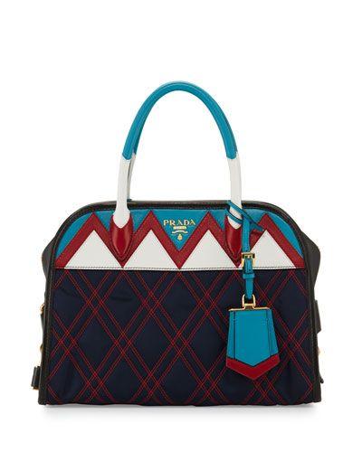 PRADA TESSUTO IMPUNTURATO SATCHEL BAG. #prada #bags #leather #lining #satchel #shoulder bags #hand bags #nylon #