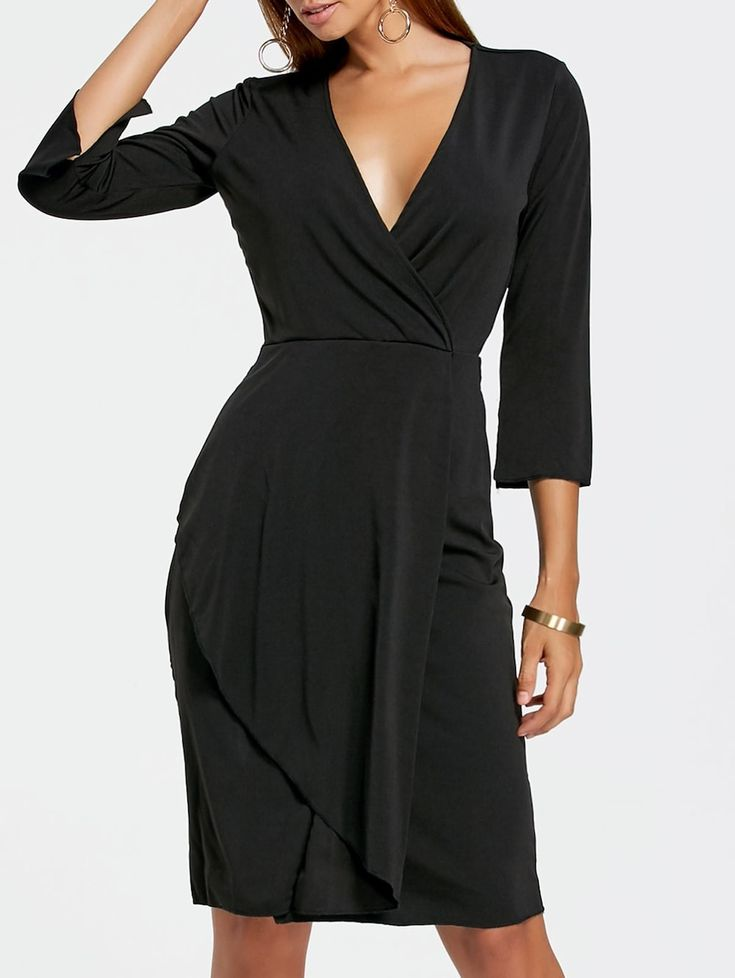 Plunging Neckline Sheath Surplice Dress