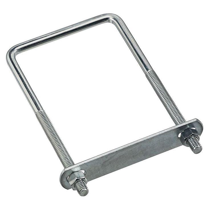 "National Hardware N245-027 2192BC Lumber Size Square U-Bolt, 3/8 x 3-5/8"" x 7"", Zinc (Grey) plated"