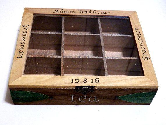 Caja de Té de Madera Caja de Bolsas de Té Regalo Caja de Té