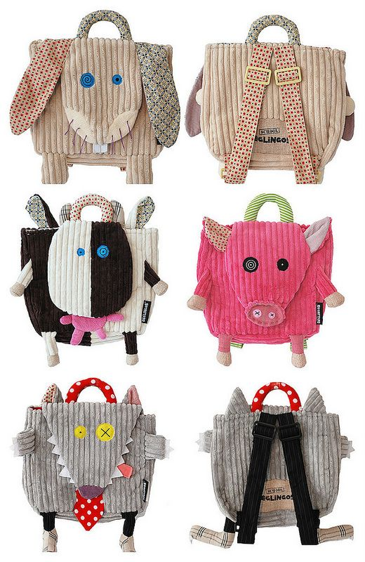 Fun kiddo backpacks - inspiration only.  Click here - http://www.tutete.com/tienda/es/man173_deglingos.html - for individual pictures of more items by the same designer - fun stuff!