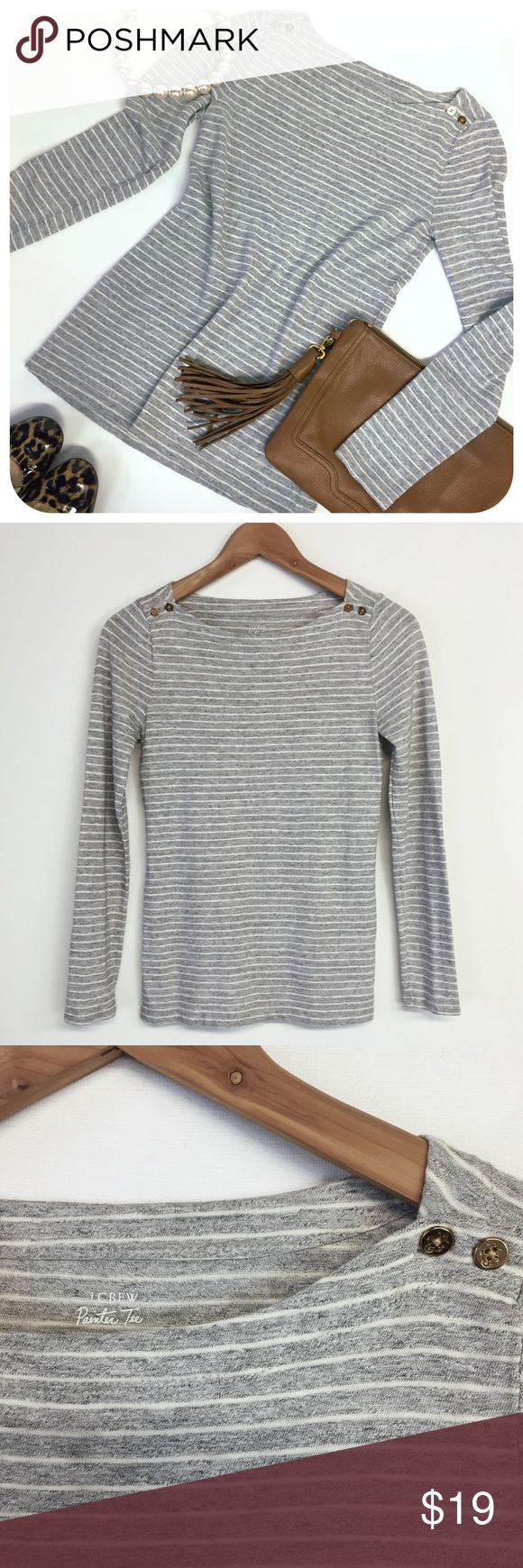{{ J. Crew }} Painter Tee Gray Striped Button Top -- J. Crew Tops Tees - Long Sleeve