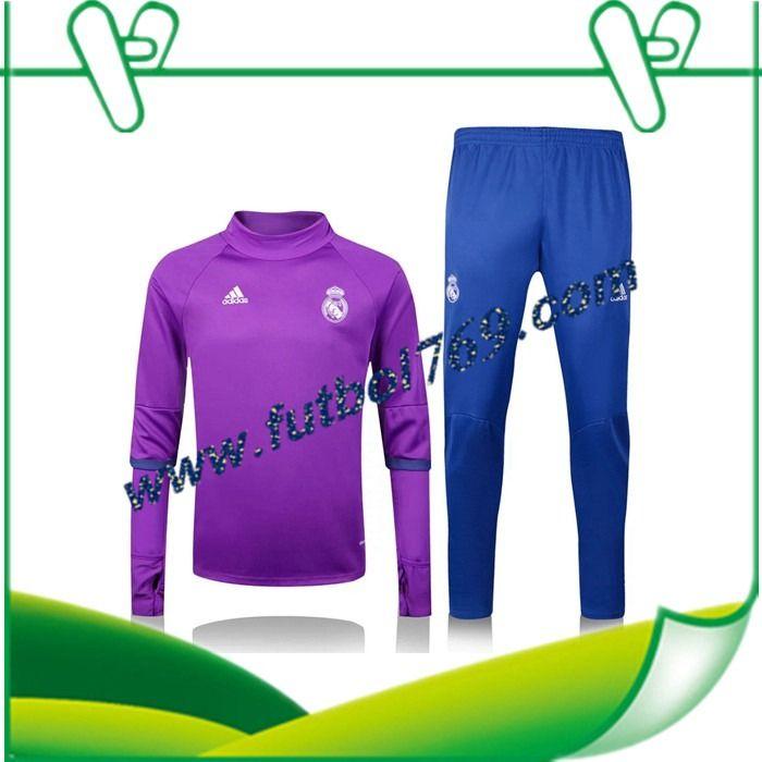 Todas Las Sudaderas Del Real Madrid Collar Púrpura + Pantalones Azul 2016 2017 Conjunto Personalizada