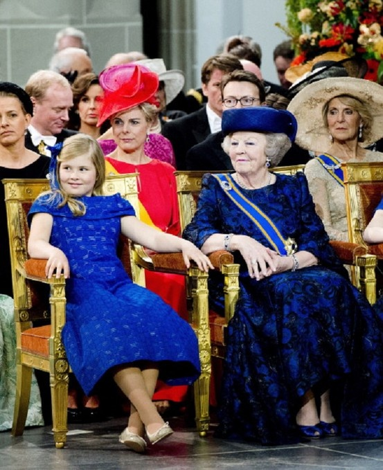 HRH Queen Beatrix of The Netherlands with her granddaughter Princess Catharina Amalia during the inauguration ceremony of HM King Willem Alexander of the Netherlands