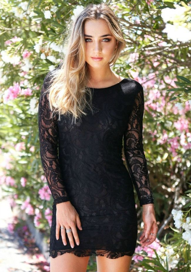 The perfect little black dress! Fitting above the knee for a sexy look, the Be My Love Lace Bodycon Dress is crafted from polyester and spandex while covered in lace for a romantic look that will make