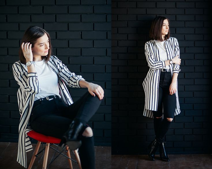 black skinny jeans, white stripe long shirt, look, outfit, street style, russia