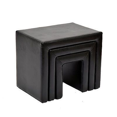 HomCom Set Of 3 PU Nesting Ottoman Couch Footstools Chair