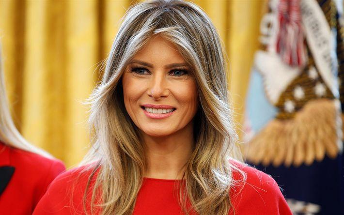 Herunterladen hintergrundbild melania trump, 4k, porträt, first lady der usa, ehefrau des us-präsidenten, die amerikanische mode-modell, schöne frau melania knauss
