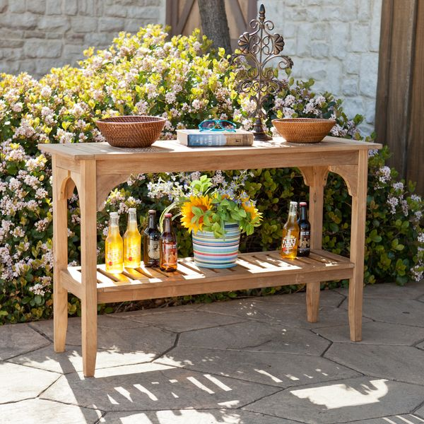 Upton Home Brookford Teak Outdoor Console Table $279.99