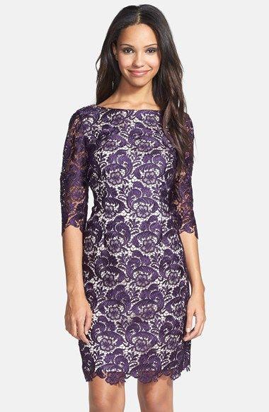Eliza J Embroidered Lace Overlay Sheath Dress (Regular & Petite) | Nordstrom