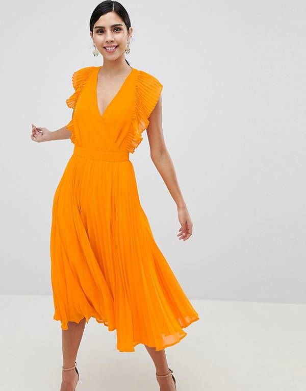 3ef042ef8256 ASOS DESIGN Pleated Ruffle Midi Dress With Cut Outs | photo sesh ...