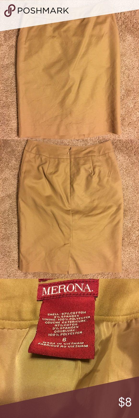 Khaki Pencil Skirt Khaki Skirt from Target size 6. Great condition. Worn twice. Non smoking home. Merona Skirts Pencil