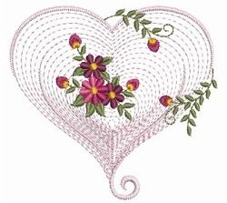 Rippled Floral Heart 2, 12 - 3 Sizes!   Floral - Flowers   Machine Embroidery Designs   SWAKembroidery.com Ace Points Embroidery