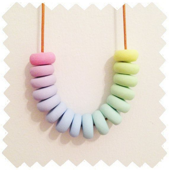 Rainbow Paddle Pop  Polymer Clay Necklace by palindromeandco
