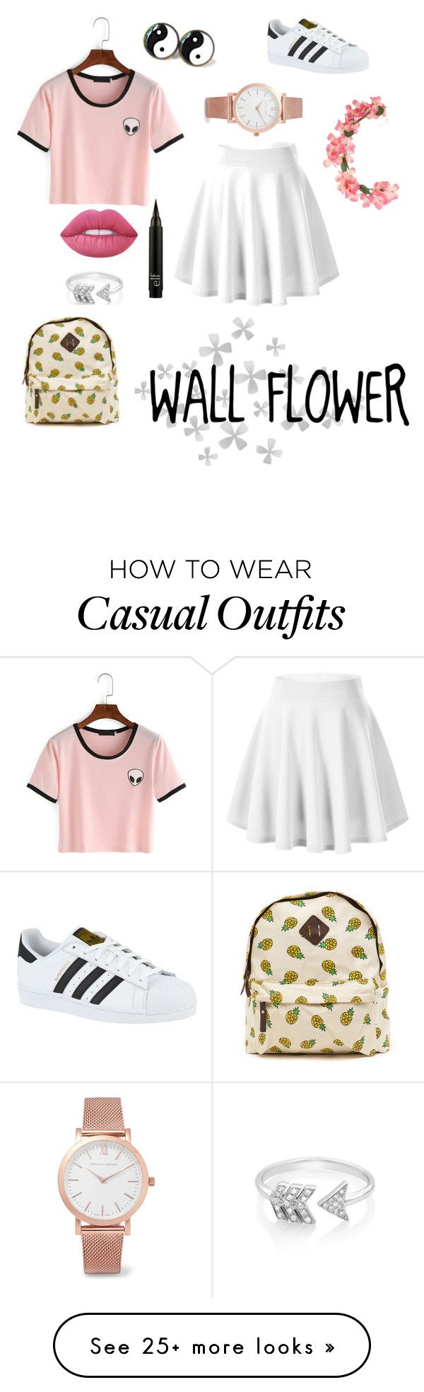 """""""Wall flower """" by blurryxfacexhood on Polyvore featuring Lime Crime, adidas, EF Collection, Larsson & Jennings, Miss Selfridge, Dot & Bo and summerbrights"""