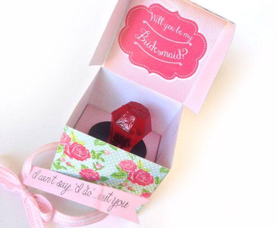Bridesmaid Ring Pop Box - - Will You Be My Bridesmaid Ring Pop Box - Cabbage Rose - Printable Box for a Ring Pop - Gift Box - Printable PDF kit $7.99