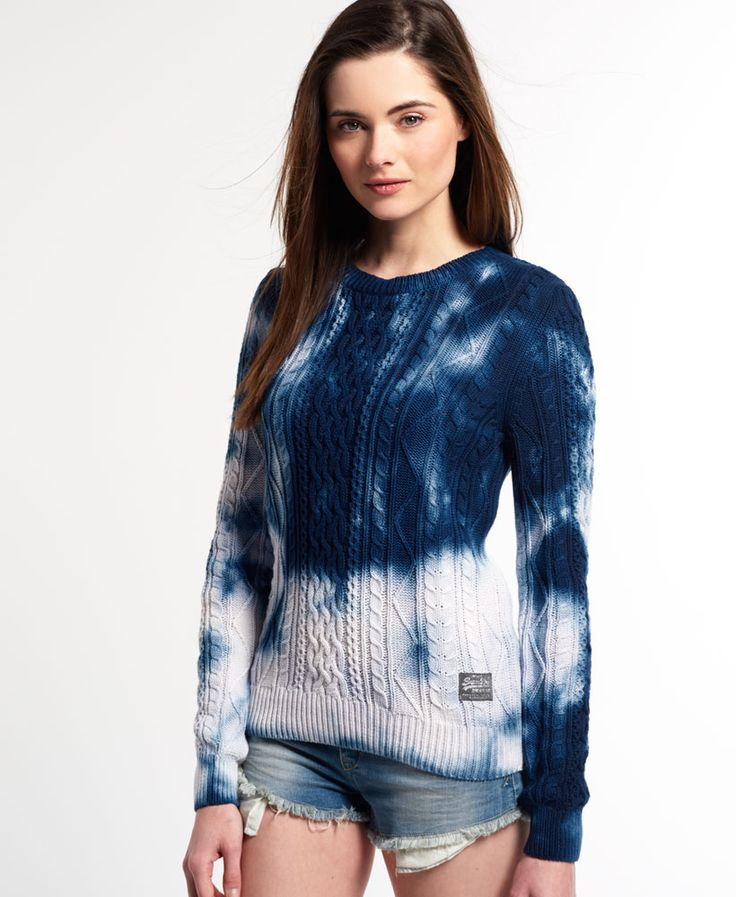 Shop Superdry Womens Tie Dye Cable Crew Jumper in Navy. Buy now with free  delivery from the Official Superdry Store.