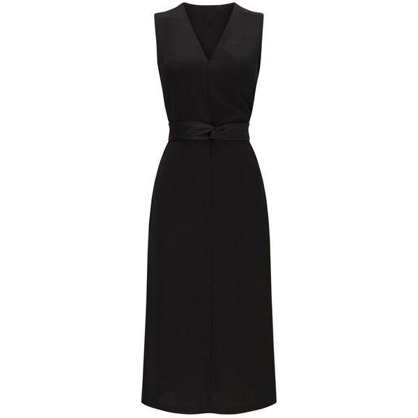 Phase Eight Nia Side Split Dress ($98) ❤ liked on Polyvore featuring dresses, floor length dresses, v neckline dress, mini dress, long-sleeve mini dress and v-neck dresses