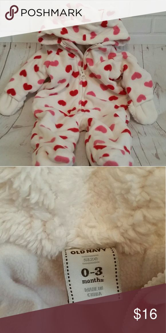 0-3 mos baby girl sleepwear 1 pc outerwear Zip up with hand protection, and cute ears on hood. In like new condition. No stains Pink & Red hearts on white base color  Smoke free home Old Navy One Pieces