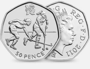Great Britain's Olympic 50p coin for field hockey (you ice hockey fans have to wait for the Winter Olympics).