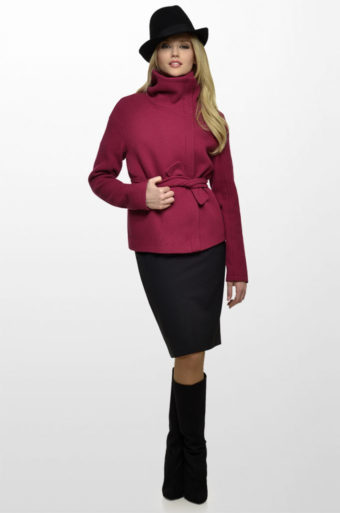Sarah Lawrence - belted jacket with oversized collar, pencil skirt.