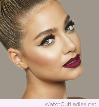 Blonde Hair Green Eyes And Wine Lips Beauty Make Up Winter