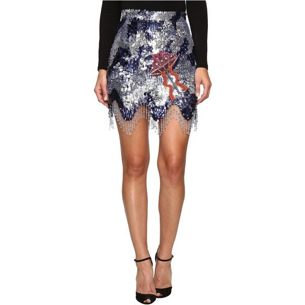 HOUSE OF HOLLAND Sequin Mini Skirt (Navy) Women's Skirt ($435) ❤ liked on Polyvore featuring skirts, mini skirts, navy, a-line skirts, white sequin skirt, mini skirt, navy skirt and white fringe skirt