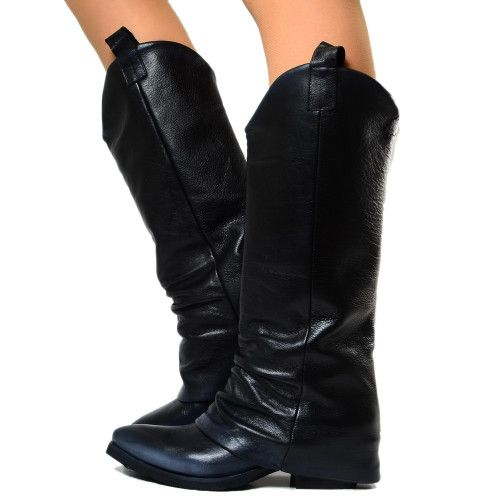 12eb41ff34 Stivali Texani Donna Neri in Pelle con Ghetta Made in Italy | Black ...