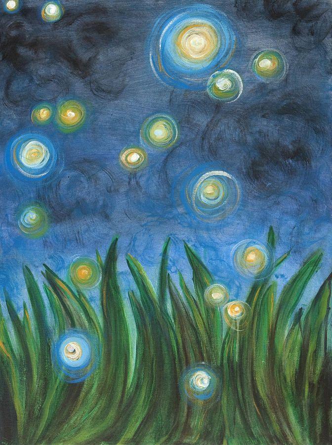 Fireflies Painting  - Fireflies Fine Art Print by Kristen Fagan