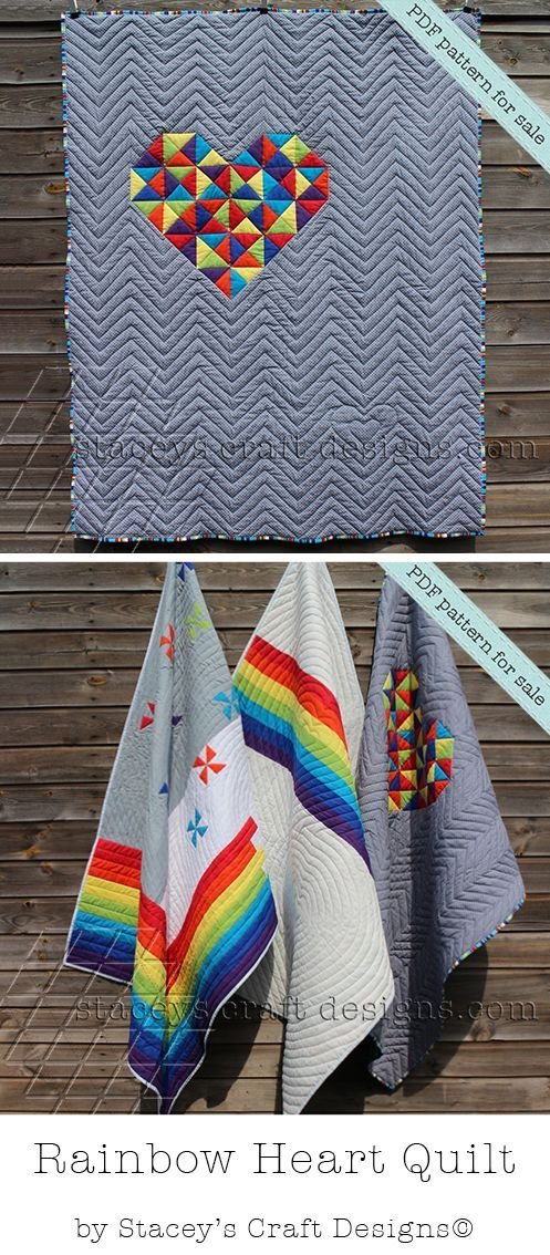 PDF pattern; Rainbow Quilts by Stacey's Craft Designs