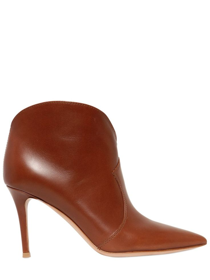 GIANVITO ROSSI - 85MM LEATHER ANKLE BOOTS - LUISAVIAROMA
