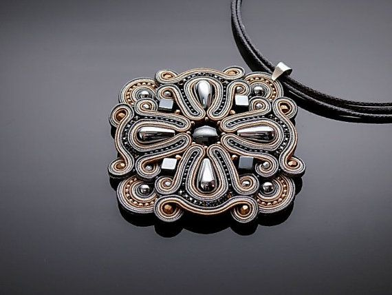 Gray and beige Soutache necklace with Haematite. by ANBijou