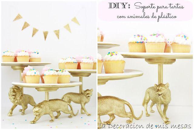 DIY la decoración de mis mesas: Soporte para tartas con animales de plástico.