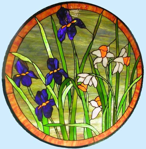 Stained glass window irises and daffodils